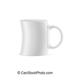 Cup - White curve cup of something stay on white background