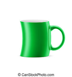 Cup - Green curve cup of something stay on white background