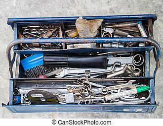 Toolbox - Metal workshop. Metal toolbox with screws, bolts...