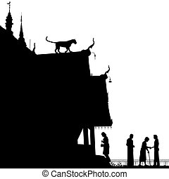 Temple leopard - Editable vector silhouette of a leopard on...