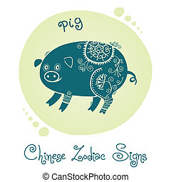 Pig Chinese Zodiac Sign Silhouette with ethnic ornament...