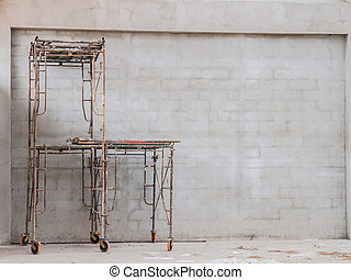 scaffolding - Rusty tubular scaffolding at a construction...