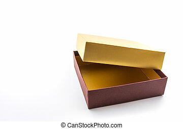 Gold and brown box. - Gold and brown gift box on white...