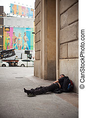 Homeless sleeping - A Homeless sleeping in the floor of the...