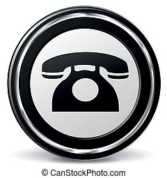 Vector old phone icon - Vector illustration of black and...