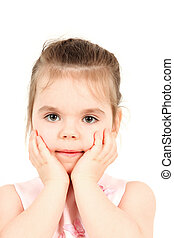 Little girl with hands on face