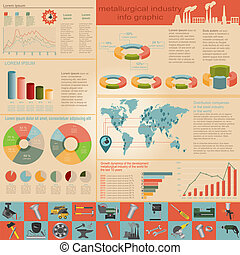 Metallurgy infographics - Set of elements and tools of...