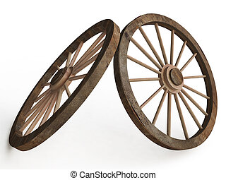 3D Old Wooden Wagon Carriage Wheels on White Background