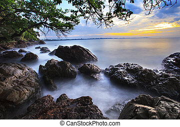 beautiful natural sea scape with long explosure technic...