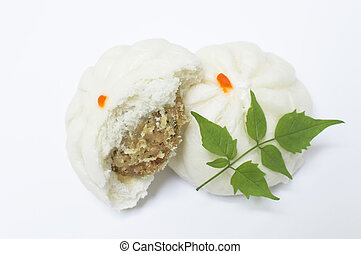 steamed dumpling bite half