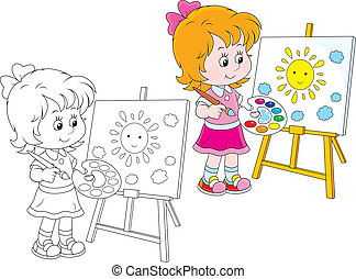 Little artist - Girl drawing a picture with a smiling yellow...