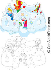 Children in a snow fort - Little girl and boys playing...