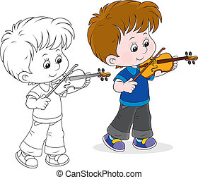 Little violinist - Boy playing his small violin, color and...
