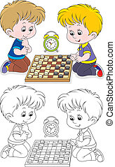 Children play checkers - Little boys playing in draughts on...