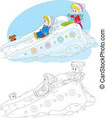 Children on an ice-run - Little boy and girl sliding down an...