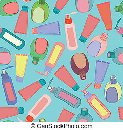 Cosmetic bottles pattern - Cosmetic bottles seamless...