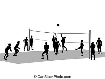 Volleyball - Young athletes playing volleyball on beach