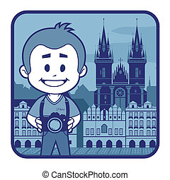 Illustration with catedral in Czech Republic - Illustration...