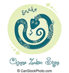 Snake Chinese Zodiac Sign Silhouette with ethnic ornament...