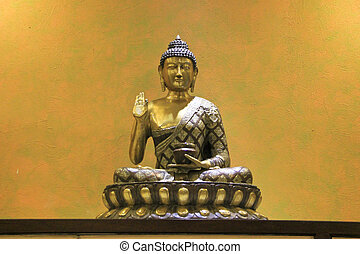Buddha on Lotus Seat - Buddha in Abhaya No Fear Mudra...
