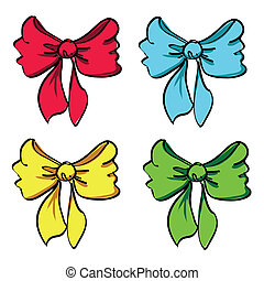 Set of four colorful bows