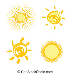 set of stylized sun isolated