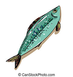 vector illustration fish isolated