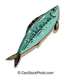 vector, Ilustración, pez