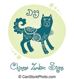 Dog Chinese Zodiac Sign Silhouette with ethnic ornament...