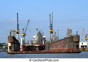 shipyard in the harbor of hamburg, germany