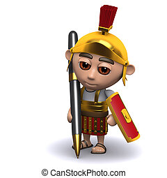3d Roman soldier writing with a pen