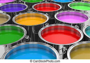 Group of cans color prints 3D image