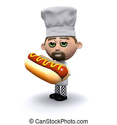 3d Chef has a hot dog - 3d render of a chef holding a hotdog