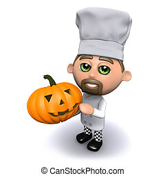3d Chef with Halloween pumpkin - 3d render of a chef with a...