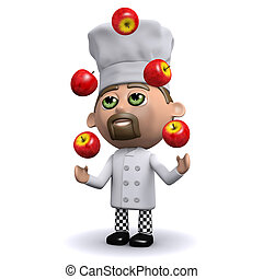 3d Chef juggles red apples - 3d render of a chef juggling...
