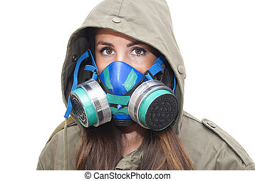 Beautiful Woman With Mask Gas - Portrait of Beautiful Young...