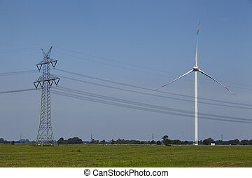 Wind turbine, power pole and power lines