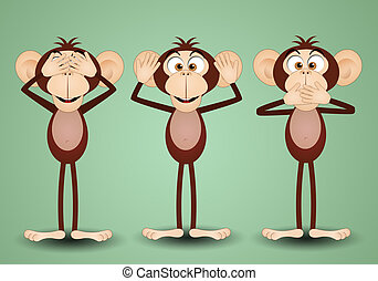 The three wise monkeys - illustration of The three wise...