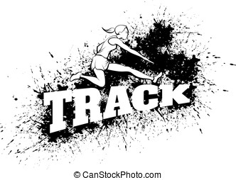 Woman Hurdling Over Word Track Grunge - Black and white...