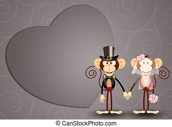 Monkey just married - illustration of Monkey just married