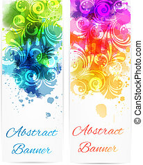 Swirly floral vertical banners