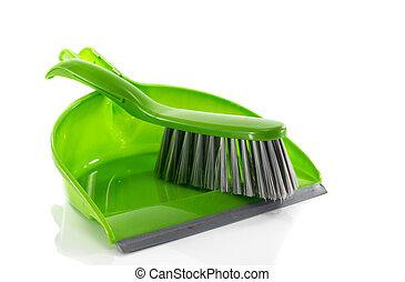 green dustpan and brush isolated on white