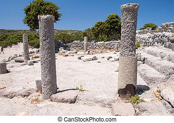 Ancient ruins of Agio Stefanos in Kos, Greece.