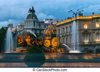 Cibeles Fountain, Madrid - Cibeles Fountain at Night,...