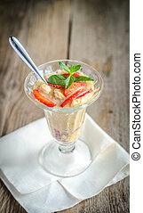 Strawberry Eton mess close up