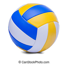 Volley-ball ball isolated on a white - dark blue, yellow...