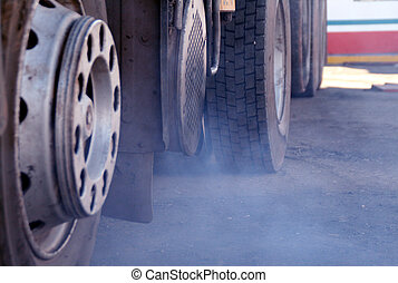 global warming picture. Truck and exhaust valve with smoke