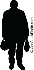 man with bags, silhouette vector