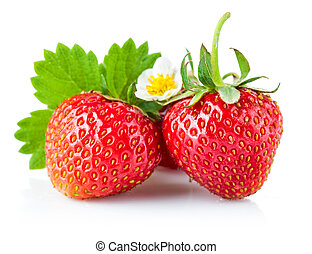 Fresh strawberry with green leaf and flower. Isolated on...