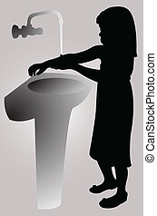 washing hands, silhouette vector